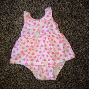 White carter's dress with pink hearts